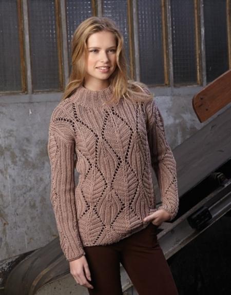 Ажурный пуловер из пряжи Katia Merino Sport