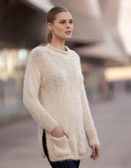 Женский удлиненный пуловер из пряжи Katia Harmony