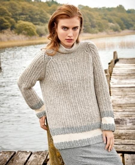 Удлиненный пуловер из пряжи Lana Grossa Alta Moda Alpaca