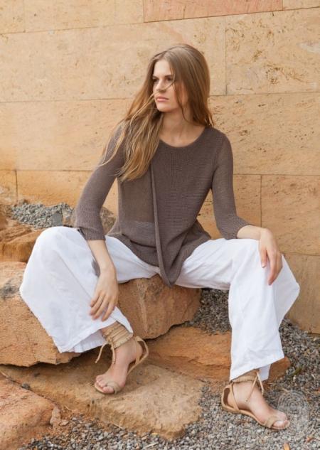 Пуловер  из пряжи Lana Grossa Solo Lino