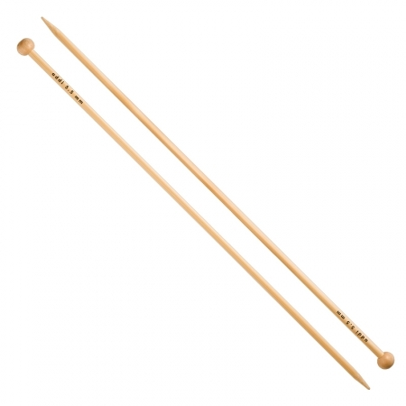 Прямые бамбуковые спицы с фиксаторами 500-7, 35 см / 5.5 мм (Addi)
