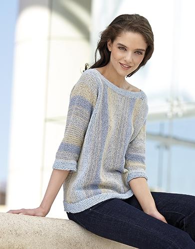 Многоцветный пуловер из пряжи Katia Silk-Viscose
