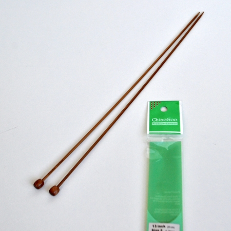 Прямые бамбуковые спицы 33 см / 3,75 мм (Chiaogoo)