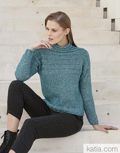Пуловер из пряжи Katia Cotton-Merino