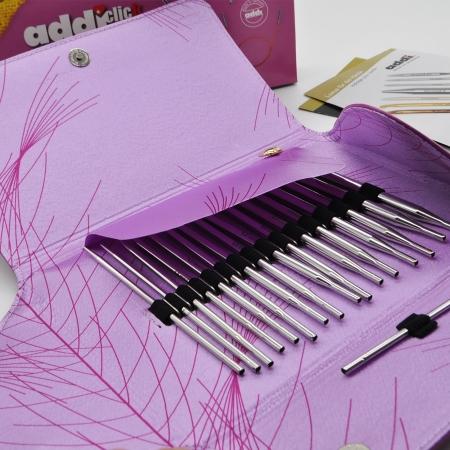 Набор круговых никелированных длинных спиц со сменными лесками AddiClick Lace Long Tips 760-2 (Addi)