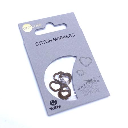 Маркеры для вязания сердце, размер M 3.25-4.5 мм, коричневый