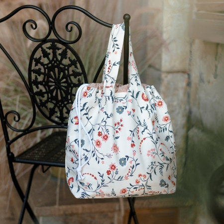 Проектная сумка для вязания, цветы