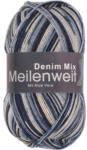 Пряжа для вязания и рукоделия Meilenweit 100 Denim Mix (Lana Grossa) цвет 7818, 420 м