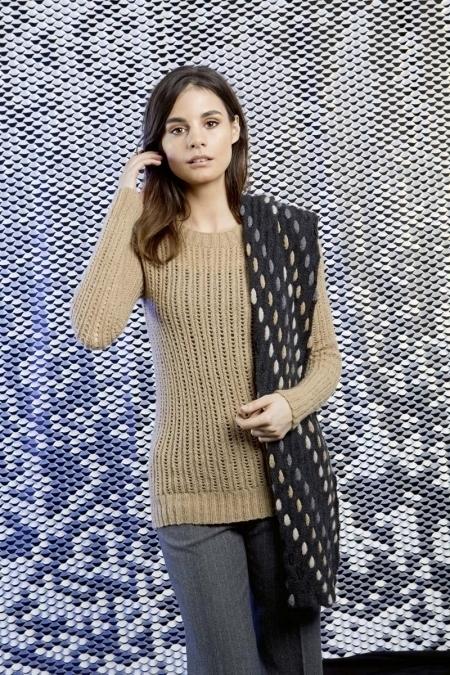 Бежевый пуловер из пряжи Lang Yarns Nova